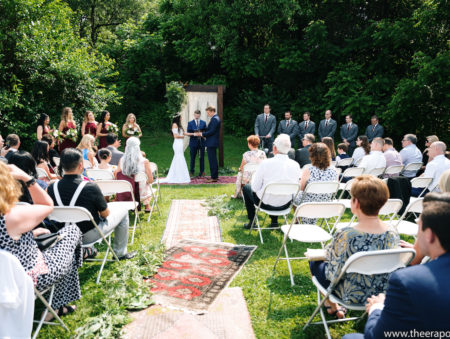 A wedding on the lawn of the homestead